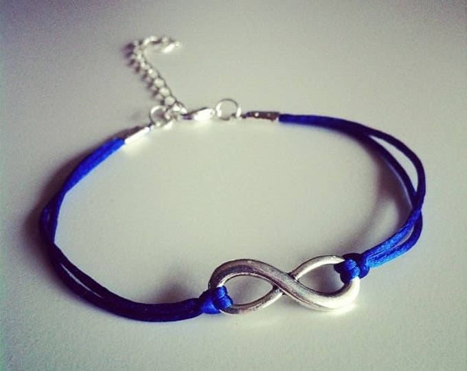 Blue cord with silver infinity sign bracelet