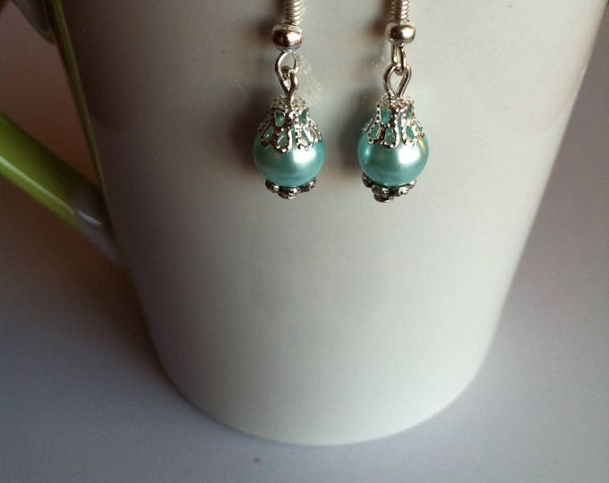 Light turquoise Pearl Earrings