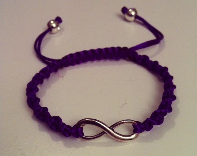 Adjustable purple sign spiral Shamballa bracelet infinity