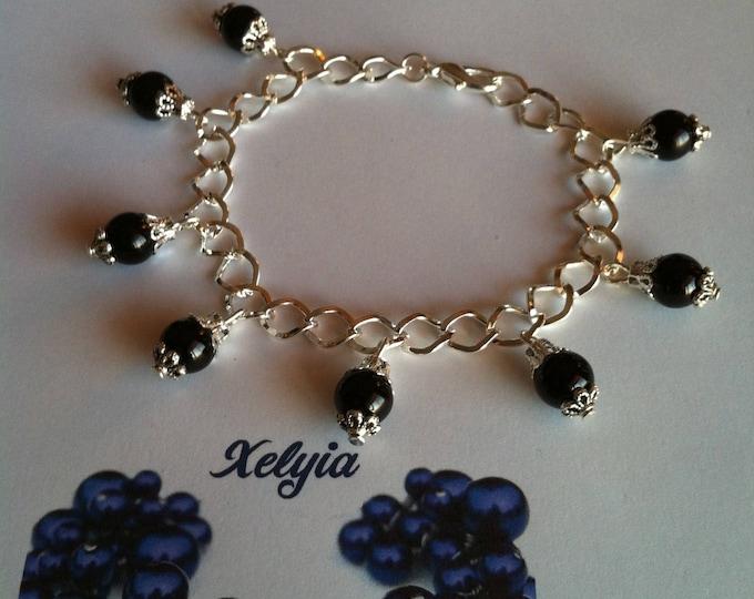 Black beads charm bracelet
