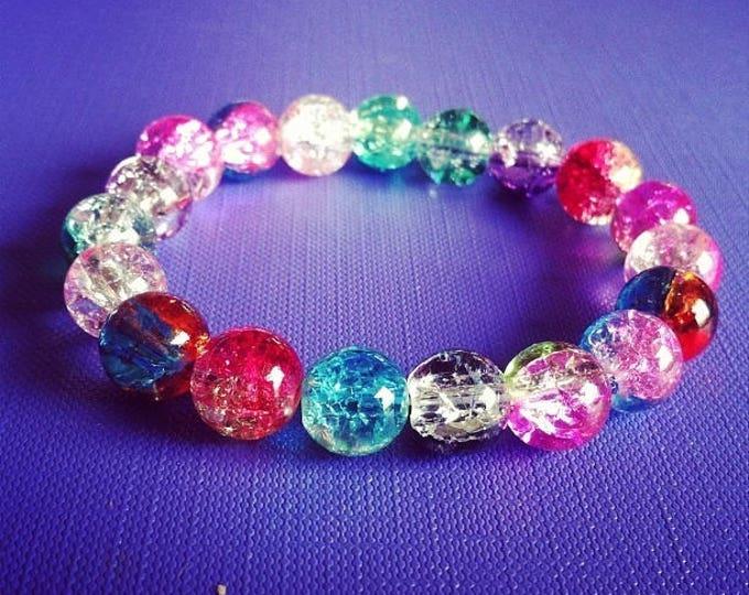 Bracelet multicolored cracked glass beads