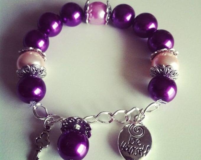 Charm bracelet purple pink light and purple #72