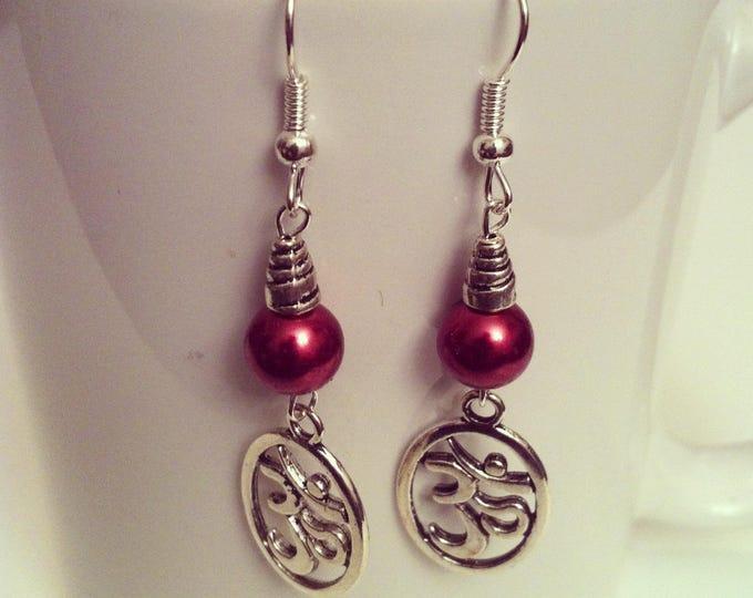 Ohm beads dark red earrings