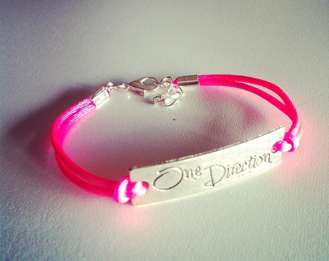 Neon pink One Direction 1 d cord bracelet