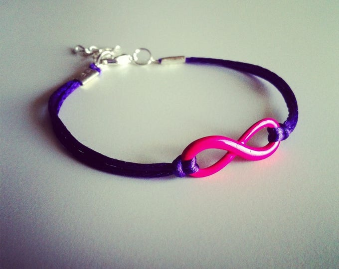Purple cord with neon pink infinity sign bracelet