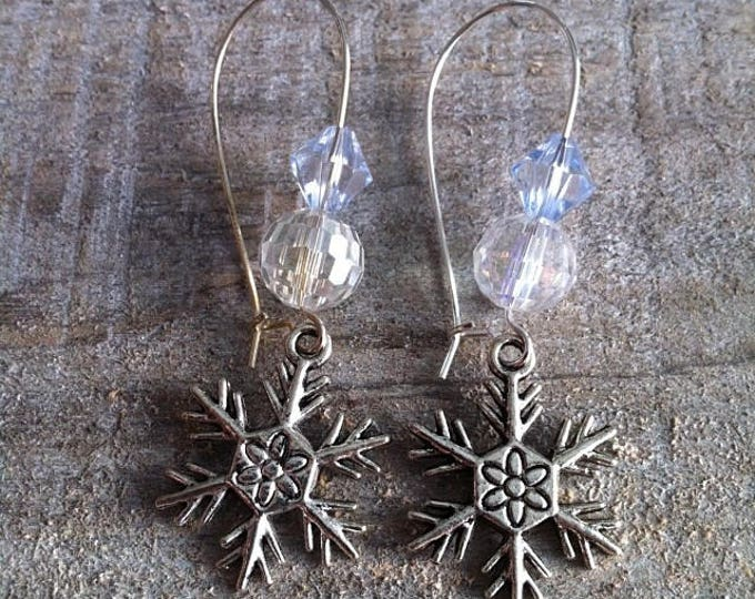 Snowflakes earrings large silvery blue sky 5 clasps