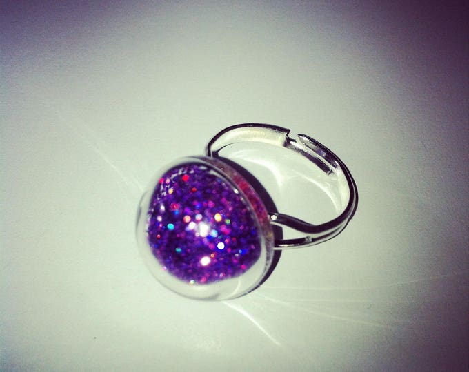 Round purple glass with holographic glitter dome ring
