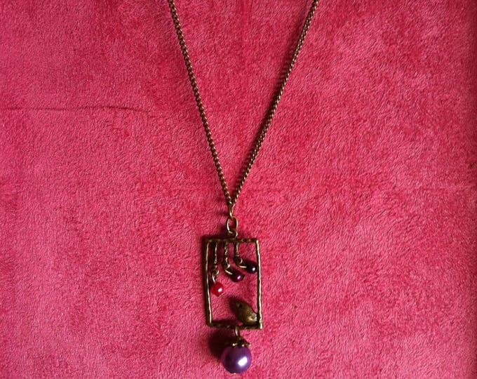 Brass window 013 purple bird chain necklace