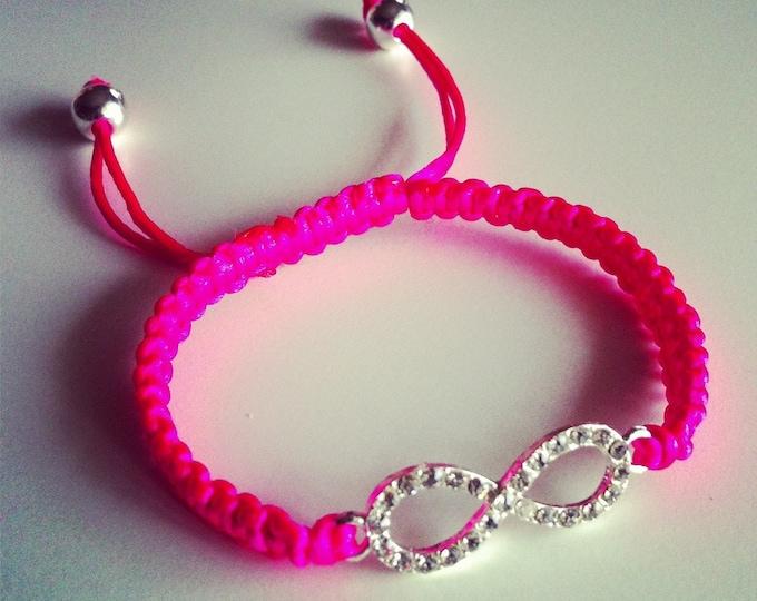 Shamballa bracelet adjustable pink neon sign rhinestone infinity