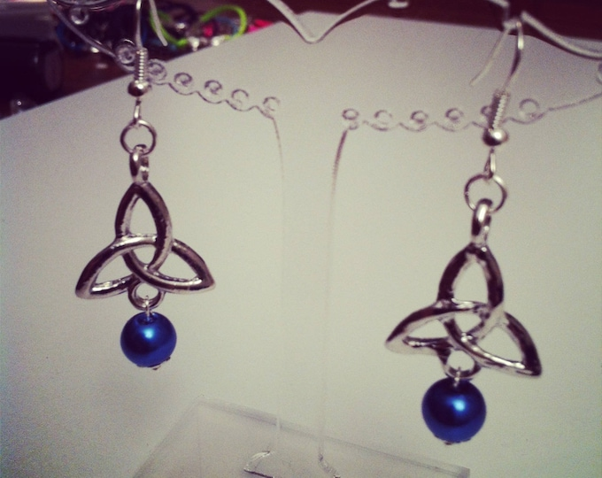 Celtic signs Monads and blue beads earrings