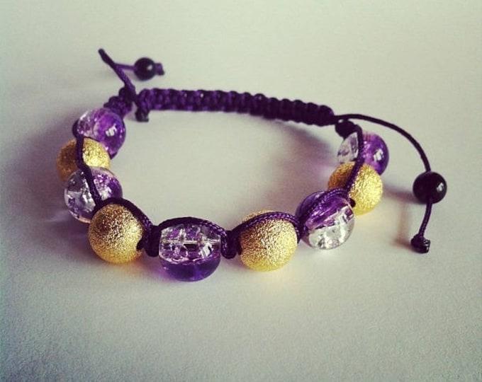 Adjustable Shamballa bracelet purple Crackle glass beads