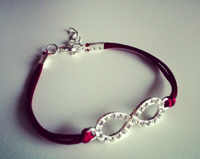Silver rhinestone bracelet Burgundy cord with Infinity sign