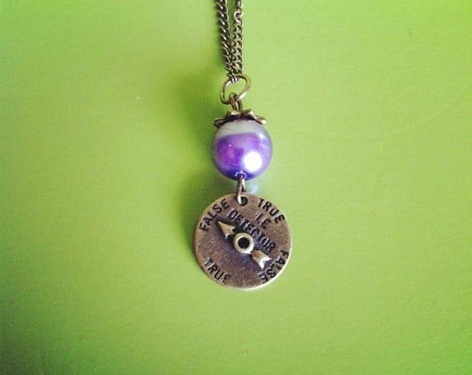 Purple bead lie detector brass chain necklace