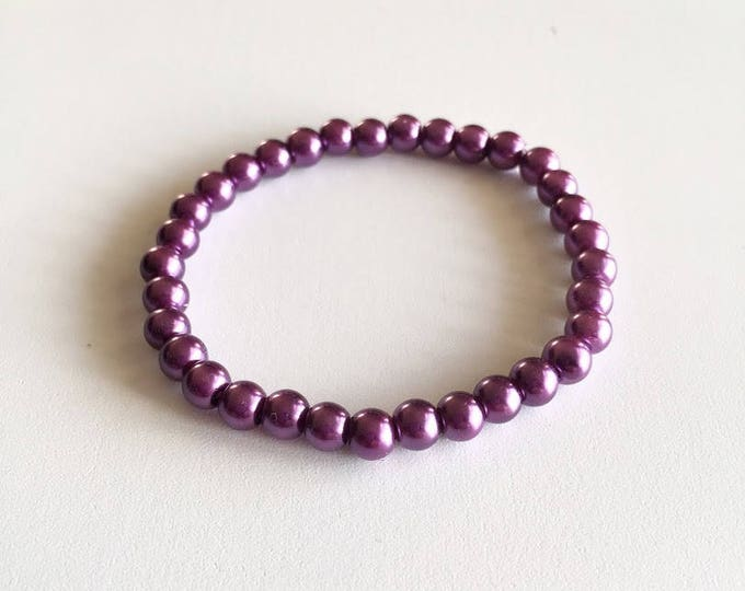 Purple glass beads bracelet