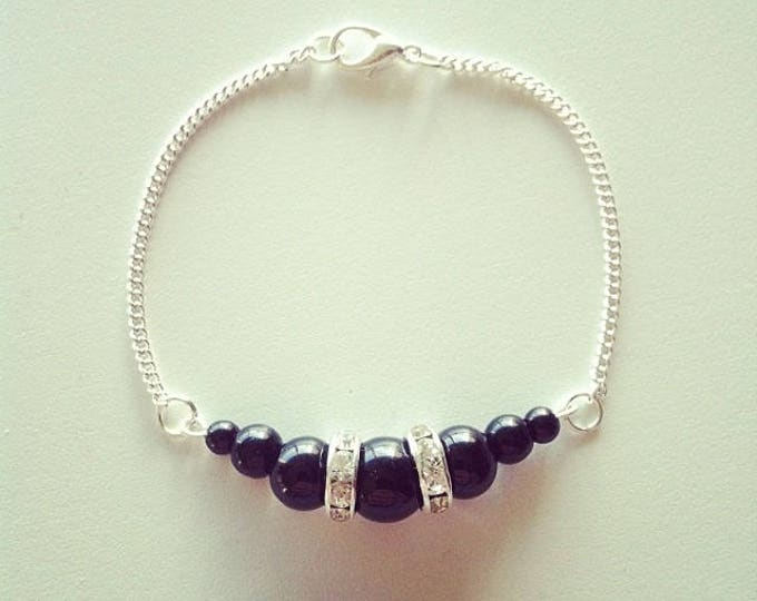 Silver bracelet black beads and rhinestones