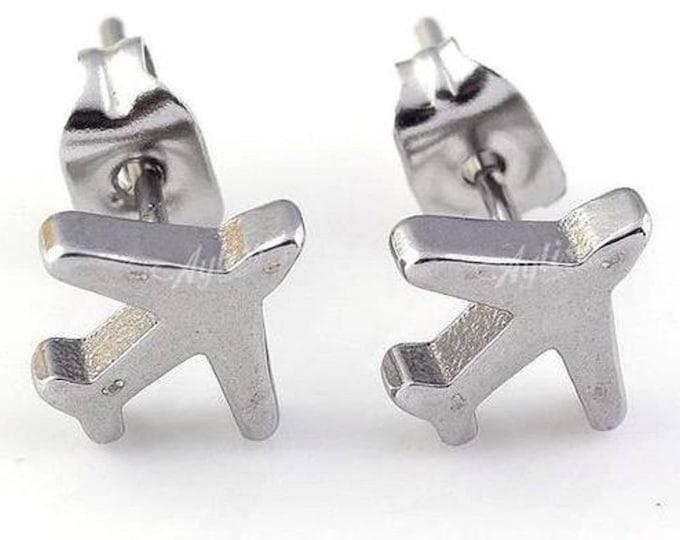 Boucles d'oreilles avions métal argenté