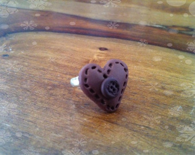 Brown leather Fimo effect heart ring