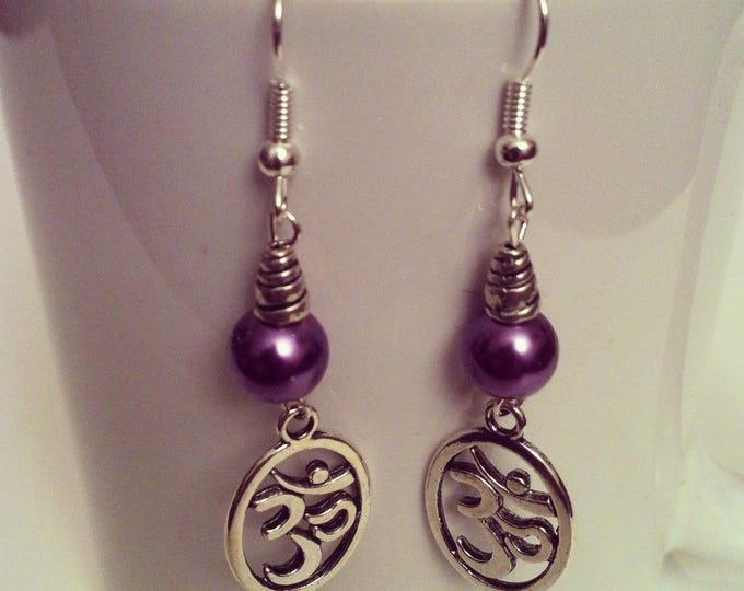 Ohm beads purple earrings