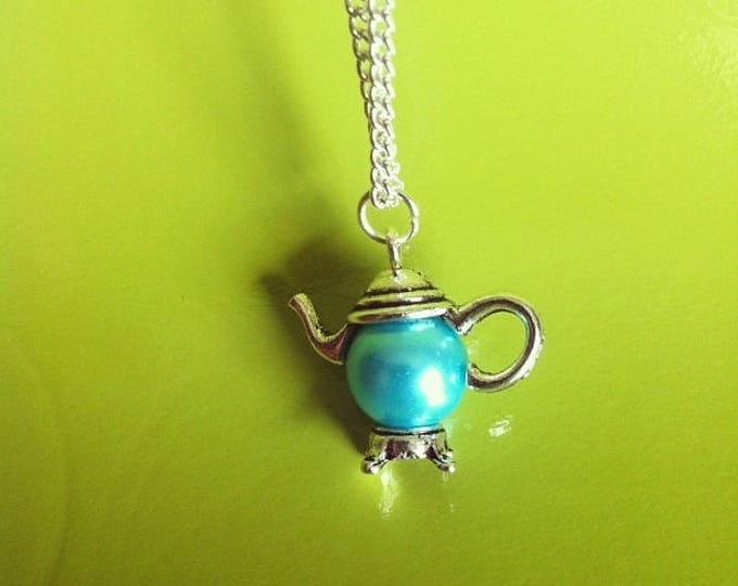 Silver Pendant chain necklace turquoise Pearl teapot