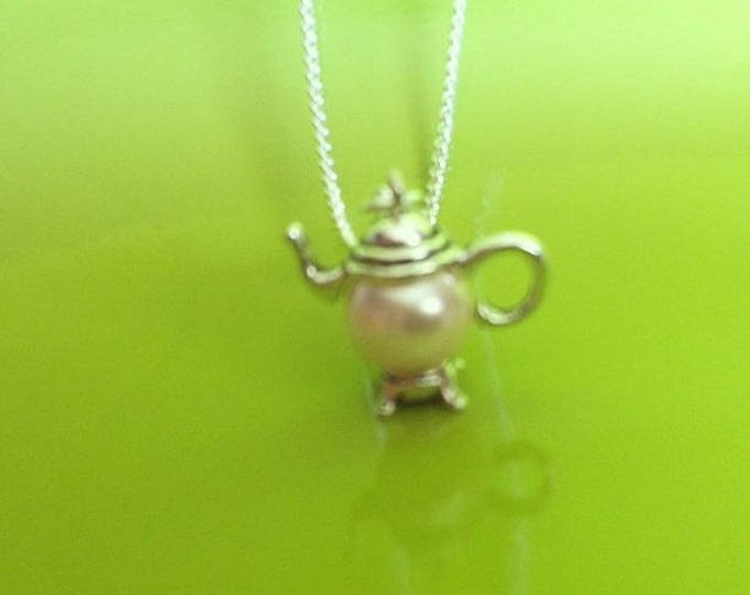 Silver Pendant chain necklace Pink Pearl teapot