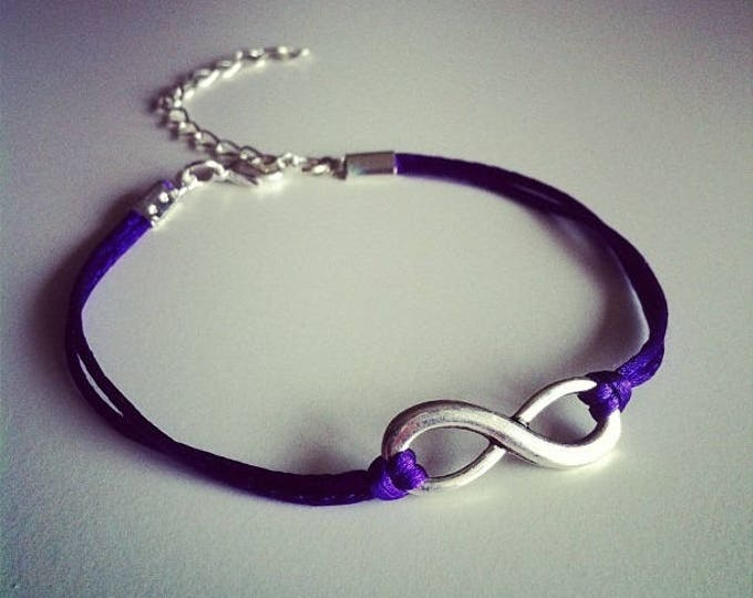 Purple cord with silver infinity sign bracelet
