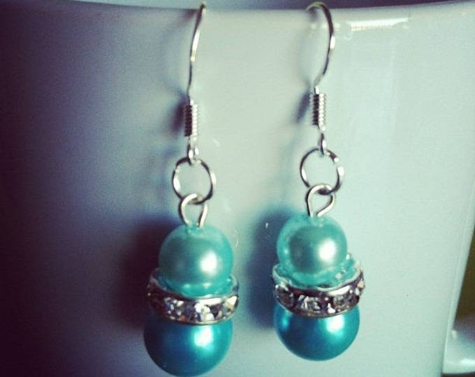 Turquoise stones and rhinestone beaded Silver earrings