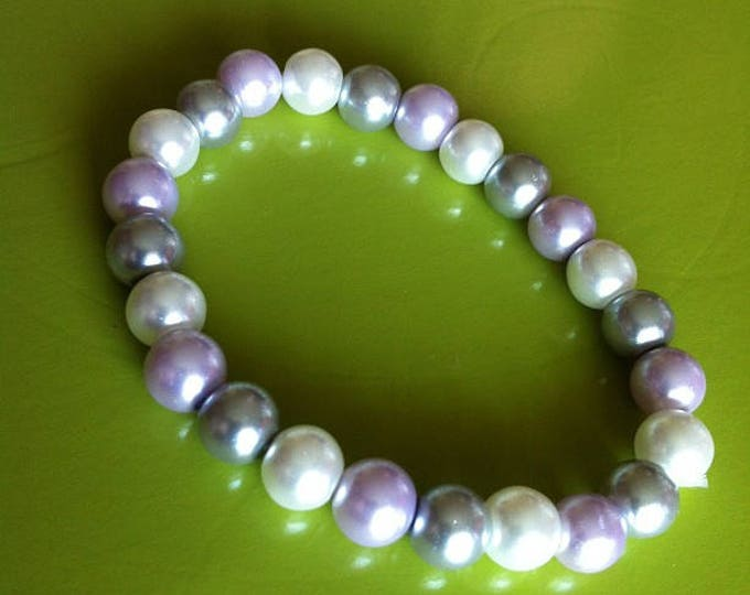 Bracelet purple white grey pearls