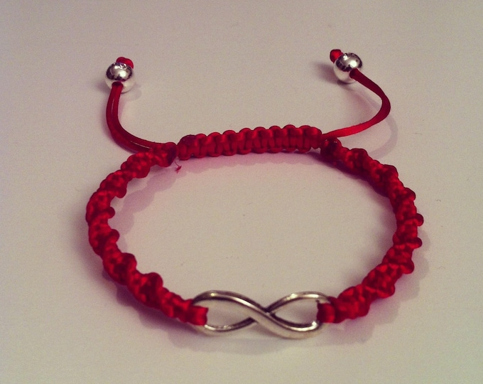 Red sign adjustable spiral Shamballa bracelet infinity