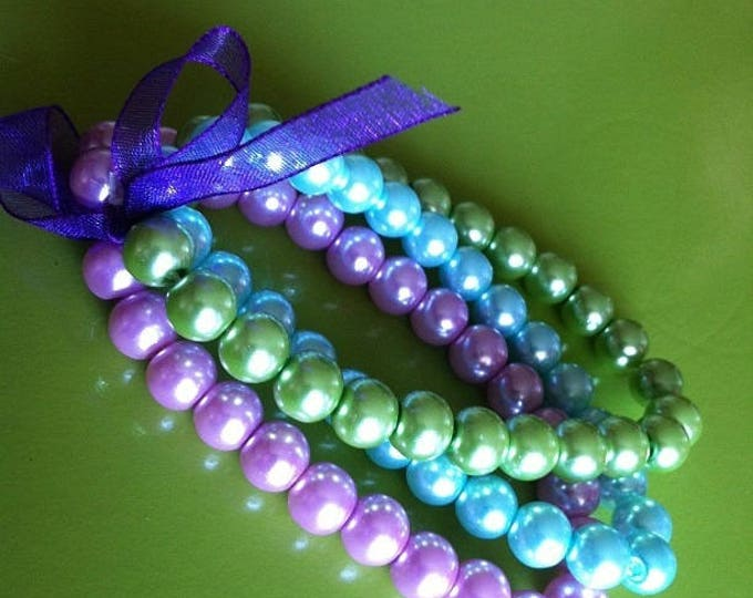 Bracelets trio purple green and turquoise