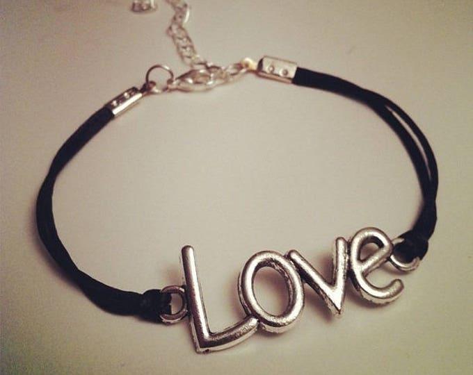 Black cord bracelet with LOVE silver