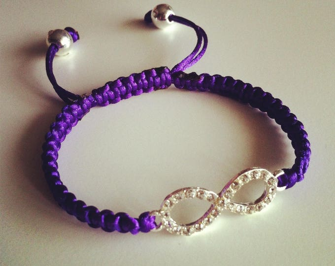 Purple sign adjustable Shamballa bracelet infinity strass