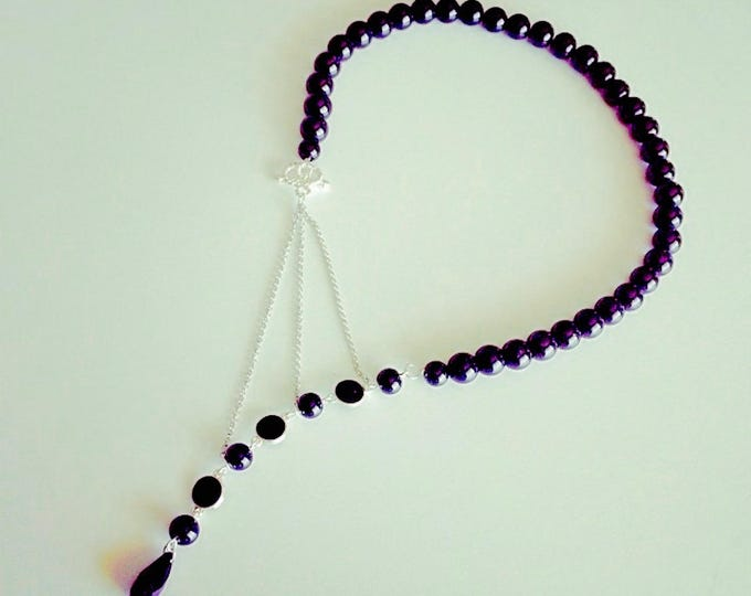Question mark Black necklace beads
