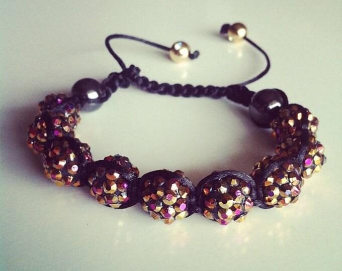 Adjustable Shamballa bracelet bronze #38