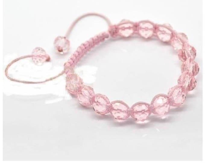 Adjustable Shamballa bracelet pale pink glass beads