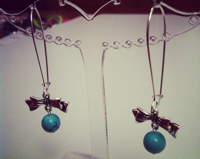 Earrings large bows turquoise silver clasps