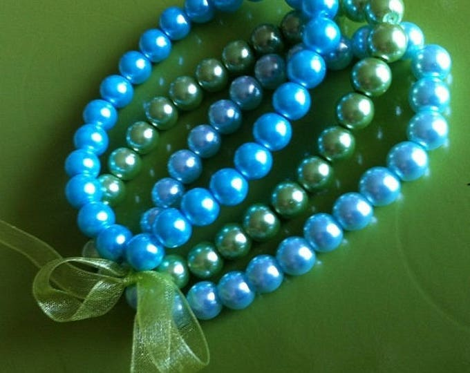 Green and turquoise bracelets trio