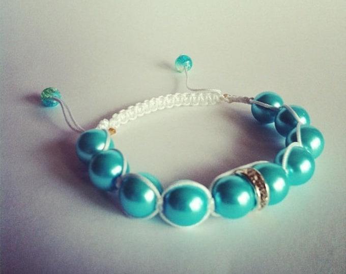 Bracelet adjustable Shamballa rhinestone and turquoise glass beads