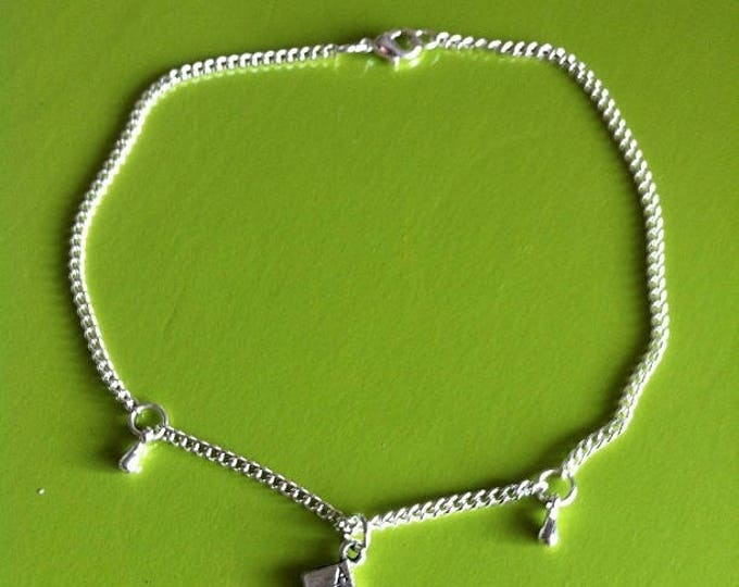 POKER card silver anklet you and drops