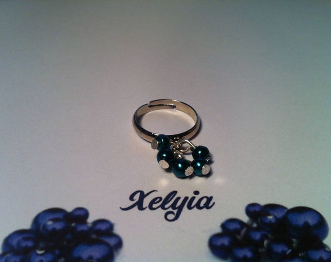 Mini ring green beads