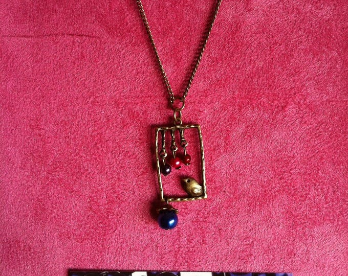 Necklace chain brass window Bluebird 009