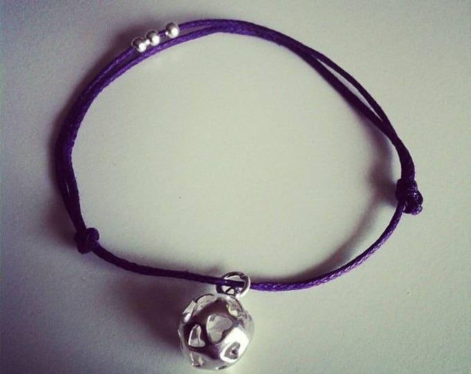 Bracelet purple waxed cord with mini pendant ball silver heart