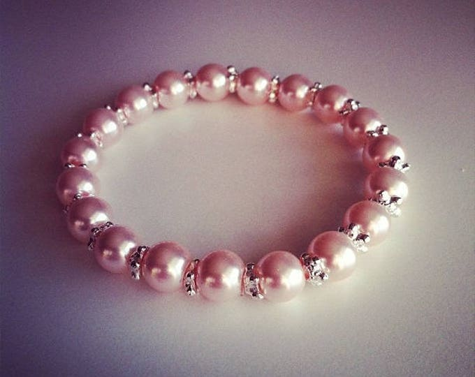 Bracelet Pink Pearl powder and small silver flowers