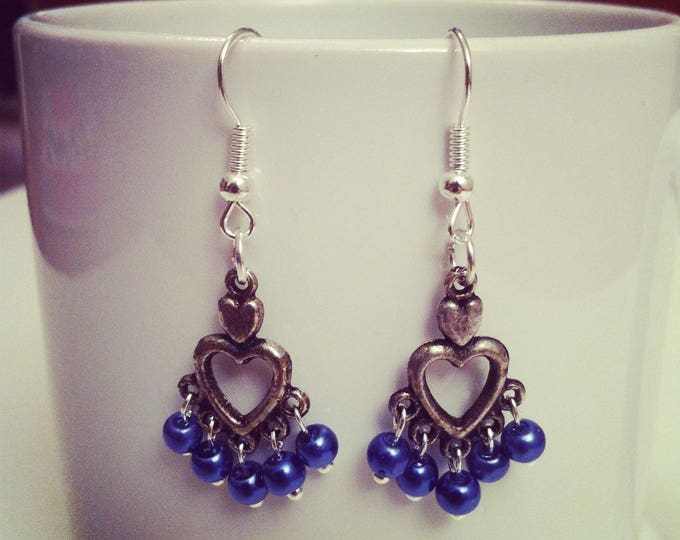 Earrings hearts blue beads