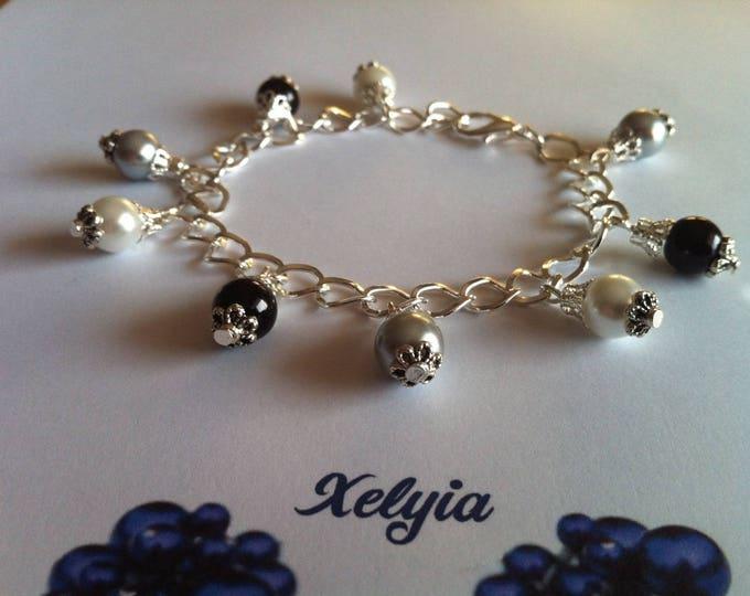 Beads charm bracelet black gray and white
