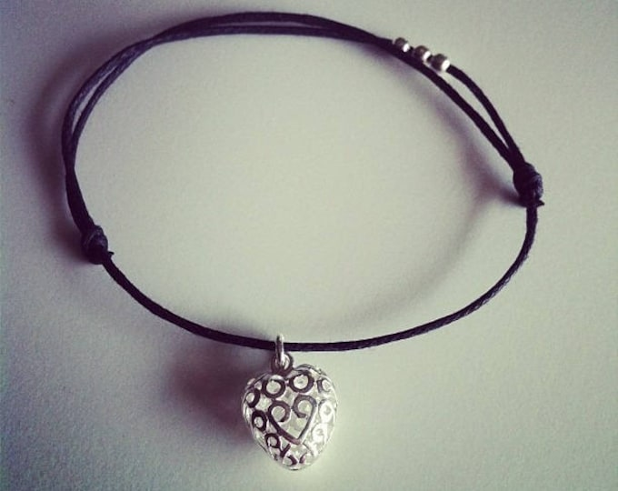 Bracelet black wax cord with tiny silver heart pendant