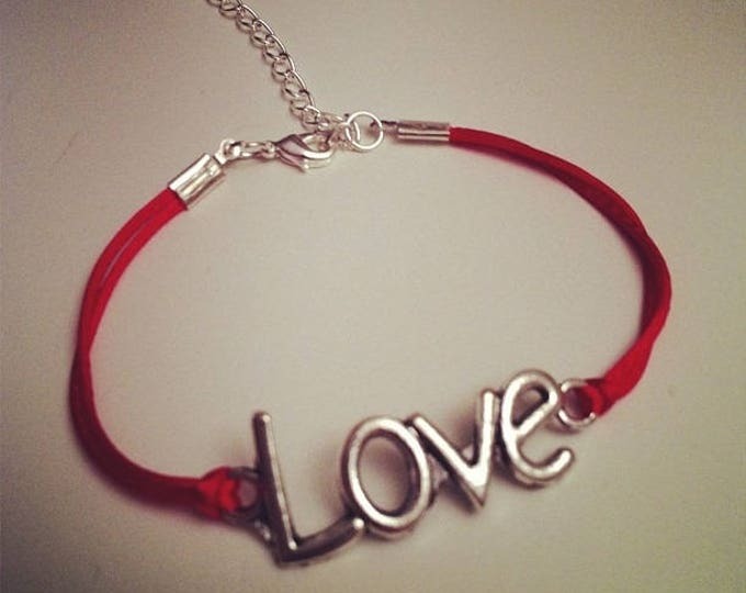 Red String Bracelet with LOVE silver