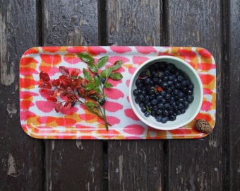Wooden Serving and Condiment Tray in Pink