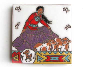 vintage teissedre style southwestern themed ceramic tile designed by christine fitzgerald