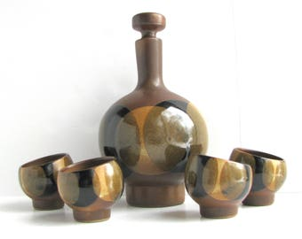 Mod Robert Maxwell Craft Moon Pottery Decanter Set With 4 Cups