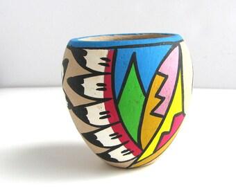 Tribal Neon Jemez Style Pottery Home Decor Vase